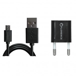 зарядний пристрій FLORENCE 1USB 1A + microUSB cable black